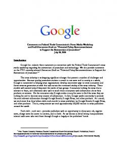 Comments on Federal Trade Commission's News Media ... - Google