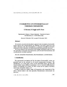 comments on intermetallic thermochemistry