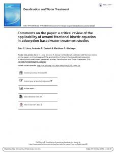 Comments on the paper: a critical review of the ...