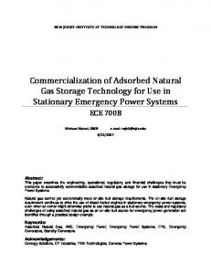 Commercialization of Adsorbed Natural Gas Storage ...