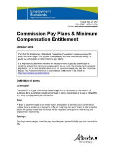 Commission Pay Plans and Minimum Compensation Entitlement
