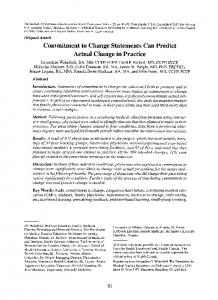 Commitment to change statements can predict ... - Wiley Online Library