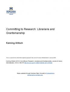 Committing to Research - Montana State University ScholarWorks