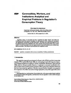 Commodities, Workers, and Institutions: Analytical and ... - CiteSeerX