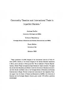 Commodity Taxation and International Trade in Imperfect Markets