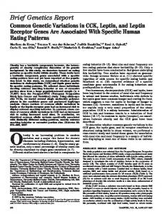 Common Genetic Variations in CCK, Leptin, and Leptin Receptor ...