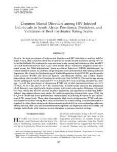 Common Mental Disorders among HIV-Infected Individuals in South ...