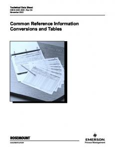 Common Reference Information Conversions and Tables - Emerson ...