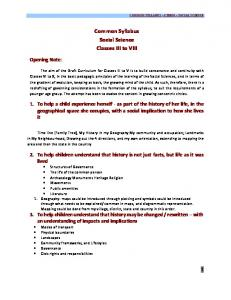 Common Syllabus Social Science Classes III to VIII