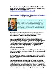 Communicating Disasters - A Century of Lessons - by Sir Arthur C ...