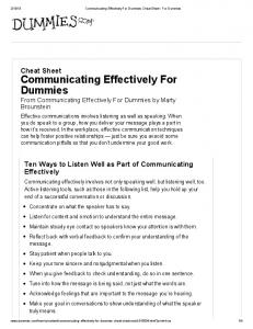 Communicating Effectively For Dummies Cheat Sheet