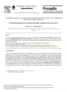 Communicating Local Culture through a Global ... - Science Direct
