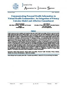 Communicating Personal Health Information in Virtual Health