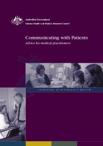 Communicating with Patients - National Health and Medical ...