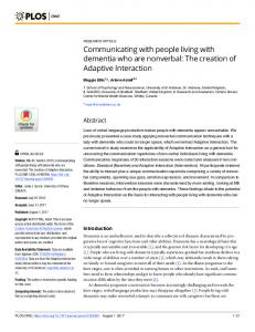 Communicating with people living with dementia who are ... - PLOS