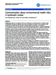 Communication about environmental health risks: A ... - Springer Link