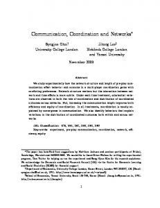 Communication, coordination and networks - CiteSeerX
