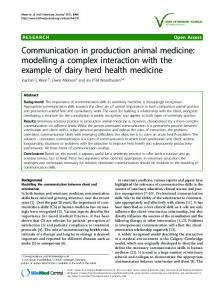 Communication in production animal medicine - BioMedSearch