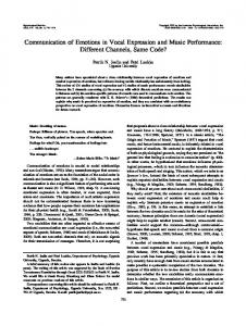 Communication of Emotions in Vocal Expression and Music - CiteSeerX