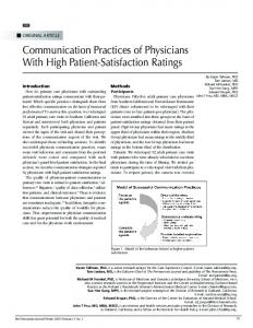 Communication Practices of Physicians With High ... - Semantic Scholar