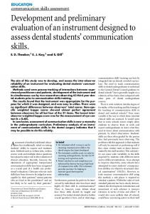 Communication skills assessment: Development and preliminary
