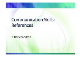 Communication Skills References - NPTel