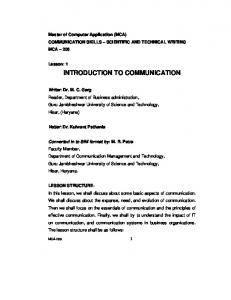 Communication Skills-Scientific & Technical Writting - Directorate of ...