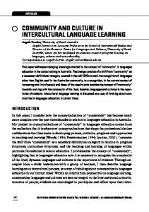 Community and culture in intercultural language learning