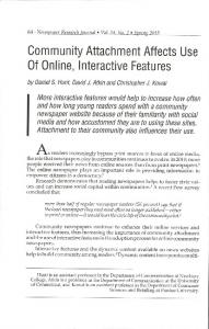 Community Attachment Affects Use Of Online ...