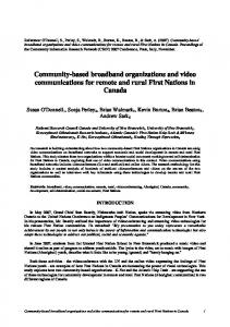 Community-based broadband organizations and ... - Semantic Scholar