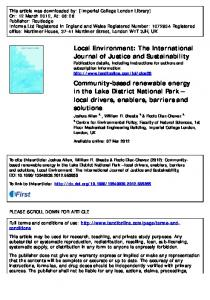 Community-based renewable energy in the Lake