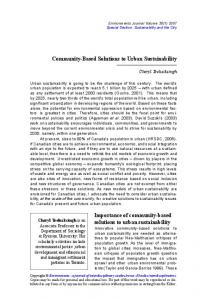 Community-Based Solutions to Urban Sustainability ...