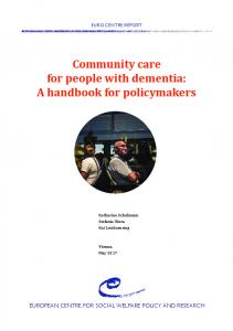 Community care for people with dementia: A handbook for policymakers