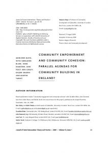 CoMMunITy eMPowerMenT and CoMMunITy CoheSIon: Parallel ...