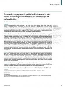 Community engagement in public health interventions to ... - The Lancet