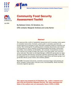Community Food Security Assessment Toolkit - USDA ERS