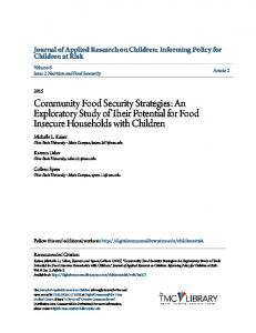 Community Food Security Strategies: An Exploratory Study of Their ...