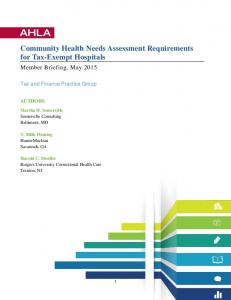Community Health Needs Assessment Requirements ...