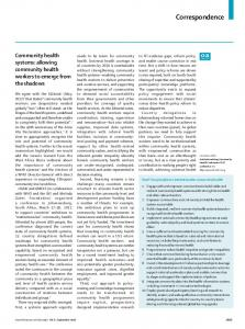 Community health systems: allowing community health ... - The Lancet
