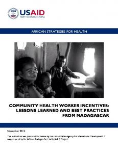 community health worker incentives: lessons learned and best ...
