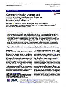 Community health workers and accountability - International Journal ...