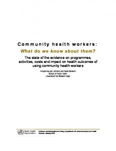 Community health workers: what do we know about them?