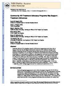 Community HIV Treatment Advocacy Programs May Support ...