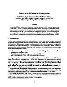 Community Information Management - CiteSeerX