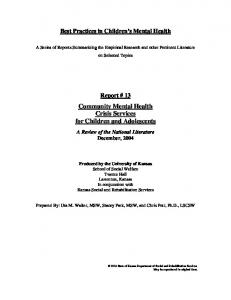 Community Mental Health Crisis Services for Children and Adolescents