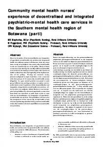 Community mental health nurses' experience of ... - Curationis