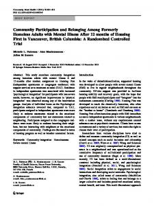 Community Participation and Belonging Among Formerly Homeless ...