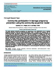 Community participation in teenage pregnancy ... - Academic Journals
