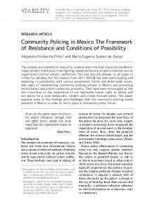 Community Policing in MexicoThe Framework of Resistance and