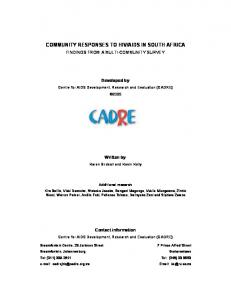 community responses to hiv/aids in south africa - CADRE